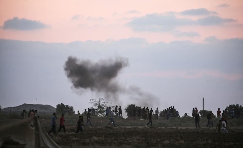 This picture taken on September 21, 2018, in the Gaza Strip near the Israeli border east of Gaza City, shows a smoke plume rising from Israeli bombardment of Hamas observation positions in the Gaza strip, days before more fresh clashes