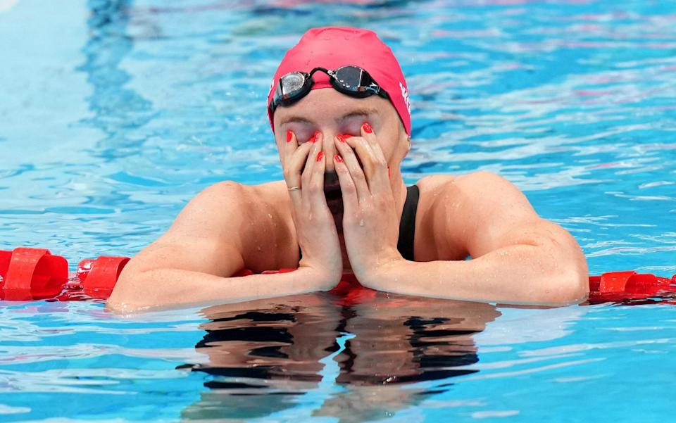 Great Britain's Abbie Wood reacts after the Women's 200m individual medley final at the Tokyo Aquatics Centre in the fifth day of the Tokyo 2020 Olympic Games in Japan. - PA