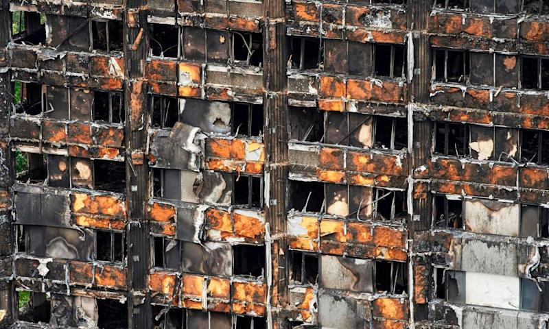 Cladding on Grenfell Tower, North Kensington, London, which caught alight in the fire of June 2017.