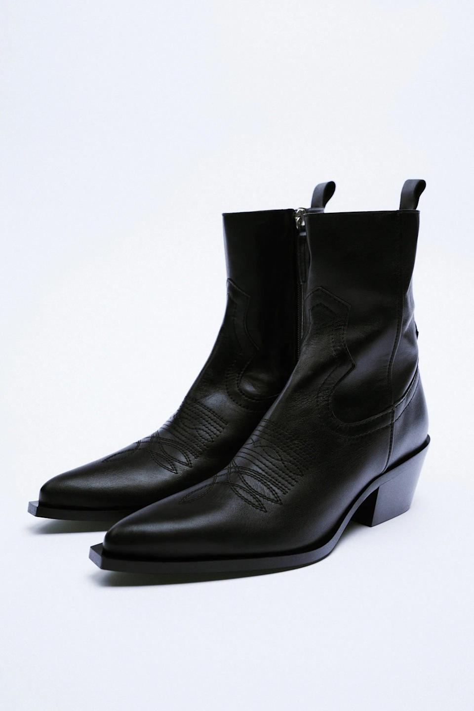 <p>These <span>Zara Leather Cowboy Ankle Boots</span> ($149) have a zipper at the side, making them super easy to take on and off. Plus, we love the thinner ankle, which isn't as common with western boots.</p>