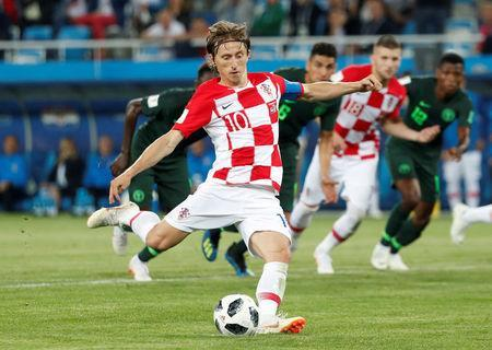 Soccer Football - World Cup - Group D - Croatia vs Nigeria - Kaliningrad Stadium, Kaliningrad, Russia - June 16, 2018 Croatia's Luka Modric scores their second goal from a penalty REUTERS/Murad Sezer