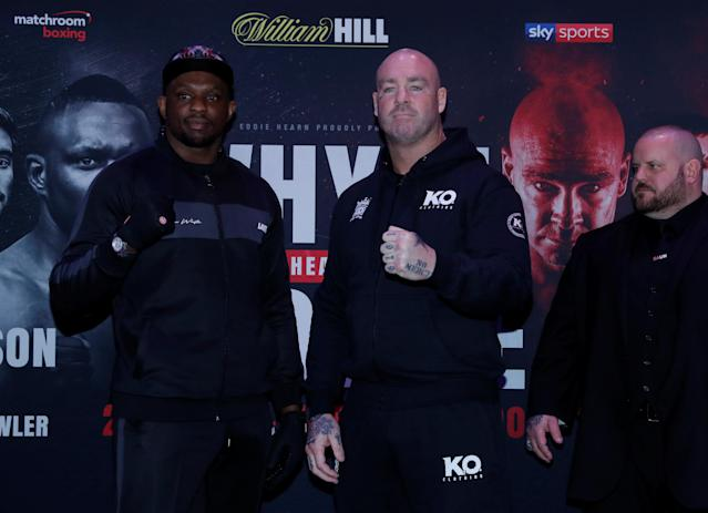 Boxing - Dillian Whyte and Lucas Browne Press Conference - The O2, London, Britain - March 22, 2018 Lucas Browne and Dillian Whyte pose during the press conference Action Images via Reuters/Andrew Couldridge