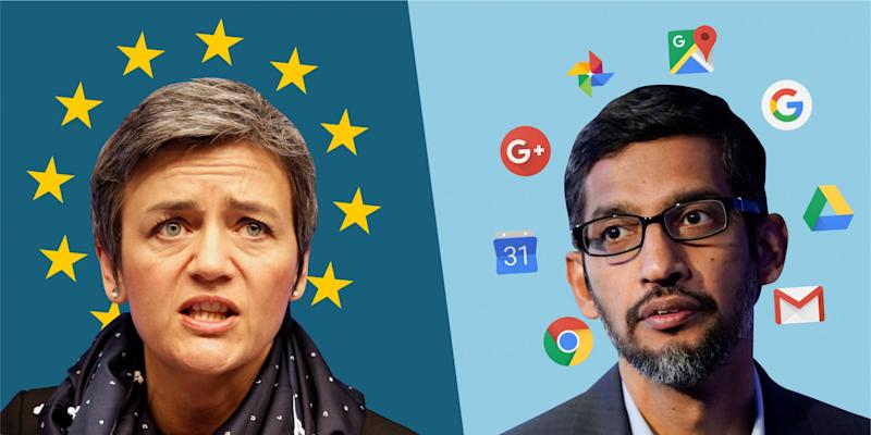 Margrethe Vestager Sundar Pichai EU Google [USAGE FOR ANDROID FINE ONLY]