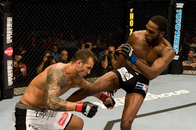 Jon Jones (R) made his UFC debut against Andre Gusmao at UFC 87 on Aug. 9, 2008 in Minneapolis, Minnesota. (Getty Images)