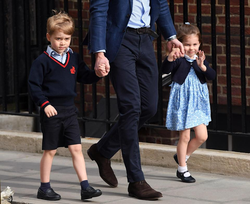 Prince George and Princess Charlotte at the Lindo Wing after the Duchess of Cambridge gave birth to their brother. [Photo: Getty]