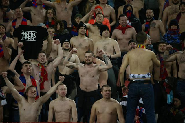 Soccer Football - Europa League - Red Star Belgrade vs CSKA Moscow - Rajko Mitic Stadium, Belgrade, Serbia - February 13, 2018 CSKA Moscow fans REUTERS/Marko Djurica