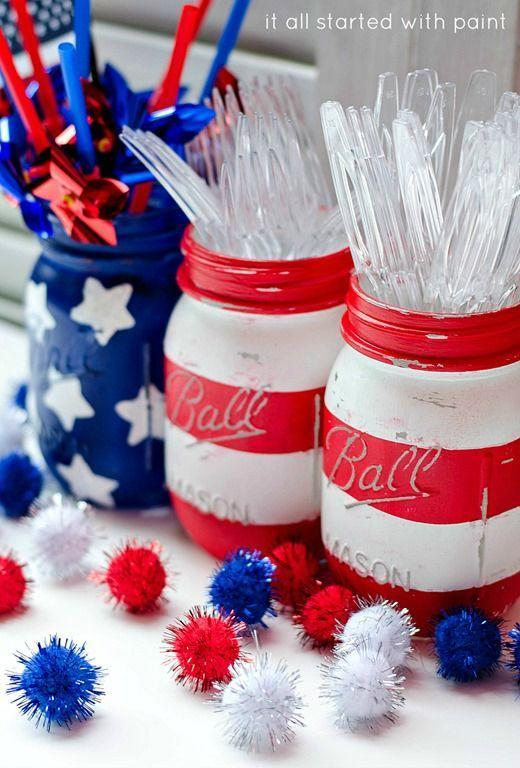 """<p>Acrylic paint will transform your mason jars into pieces of patriotic perfection.</p><p><em>Get the tutorial from <a href=""""http://www.itallstartedwithpaint.com/red-white-blue-mason-jars/"""" rel=""""nofollow noopener"""" target=""""_blank"""" data-ylk=""""slk:It All Started With Paint"""" class=""""link rapid-noclick-resp"""">It All Started With Paint</a>.</em></p><p><strong><strong>What You'll Need:</strong></strong> <a href=""""https://www.amazon.com/12-Ball-Mason-Jar-Lid/dp/B014V7RSE8/?tag=syn-yahoo-20&ascsubtag=%5Bartid%7C10070.g.2446%5Bsrc%7Cyahoo-us"""" rel=""""nofollow noopener"""" target=""""_blank"""" data-ylk=""""slk:Mason jars"""" class=""""link rapid-noclick-resp"""">Mason jars</a> ($6, Amazon); <a href=""""https://www.amazon.com/Apple-Barrel-Acrylic-2-Ounce-PROMOABI/dp/B00ATJSD8I/?tag=syn-yahoo-20&ascsubtag=%5Bartid%7C10070.g.2446%5Bsrc%7Cyahoo-us"""" rel=""""nofollow noopener"""" target=""""_blank"""" data-ylk=""""slk:paint"""" class=""""link rapid-noclick-resp"""">paint</a> ($18, Amazon)<br></p>"""