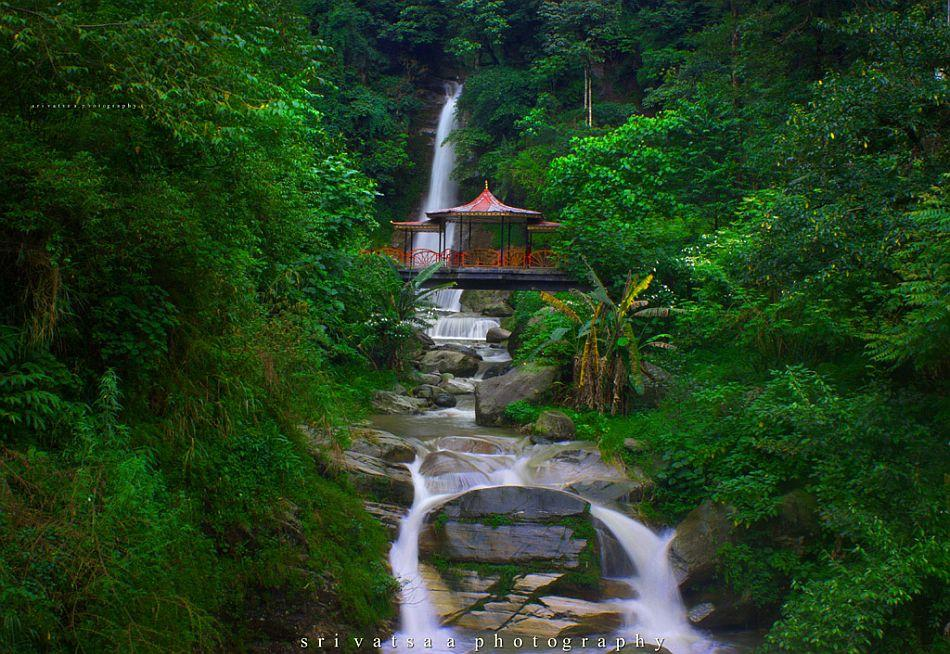 The picturesque Banjhakri Falls in Sikkim wears a lush, verdant monsoon mood.