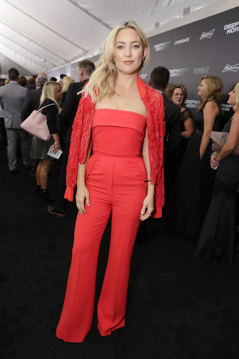 375a8c28df Kate Hudson s Red Jumpsuit Would Pair Well With a Pumpkin Spice Latte