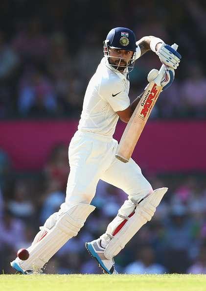 SYDNEY, AUSTRALIA - JANUARY 08: Virat Kohli of India bats during day three of the Fourth Test match between Australia and India at Sydney Cricket Ground on January 8, 2015 in Sydney, Australia. (Photo by Cameron Spencer/Getty Images)