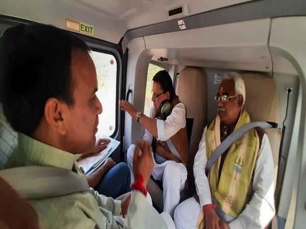 CM Pushkar Singh Dhami along with Cabinet Minister Dr Dhan Singh Rawat and Chief Secretary SS Sandhu during  aerial survey. (Photo/ANI)