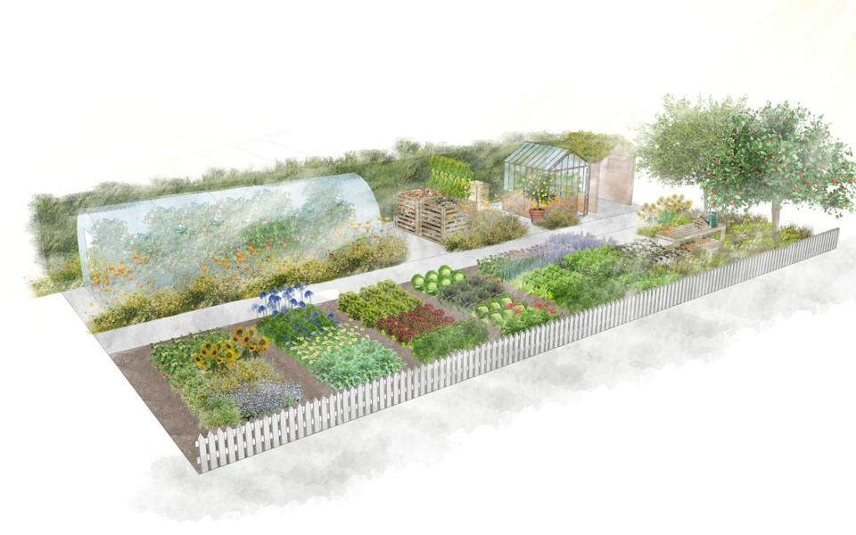 An artist impression of the No Dig Demo Garden by Charles Dowding and Stephanie Hafferty - Charles Dowding and Stephanie Hafferty