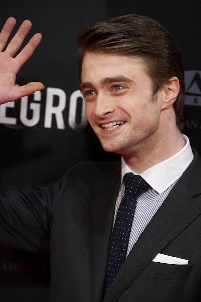 """MADRID, SPAIN - FEBRUARY 14:  Actor Daniel Radcliffe attends """"The Woman in Black"""" (La Mujer de Negro) premiere at Callao cinema on February 14, 2012 in Madrid, Spain.  (Photo by Carlos Alvarez/Getty Images)"""