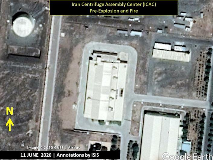 A satellite image of the Iran Centrifuge Assembly Center building on June 11, 2020, before a July 2 explosion.
