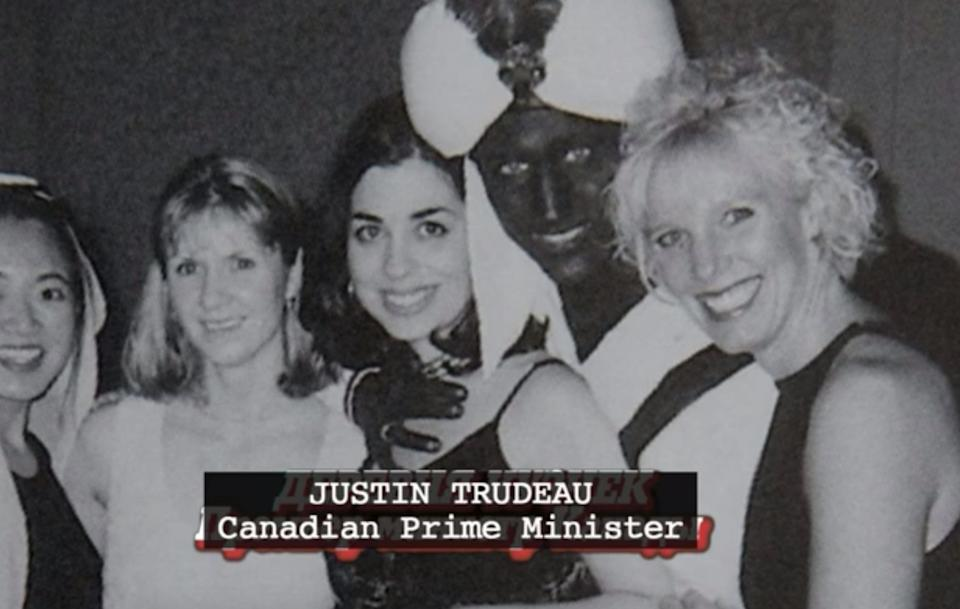 "A screenshot from the new film ""Borat 2,"" which includes a joke about Canadian Prime Minister Justin Trudeau's brownface scandal.  (Photo: Prime Studios)"