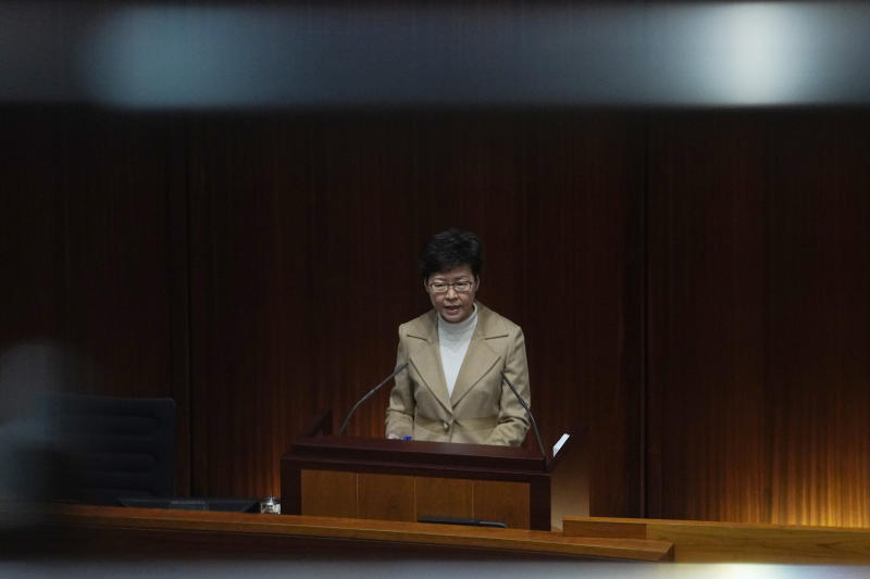 Hong Kong Chief Executive Carrie Lam speaks during a question and answer session at the Legislative Council in Hong Kong Thursday, Jan. 16, 2020. (AP Photo/Vincent Yu)