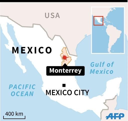 Graphic locating the northern Mexican city of Monterrey, where at least 30 people died in a pre-dawn prison riot (AFP Photo/Gustavo Izus/, Nicolas Ramallo)