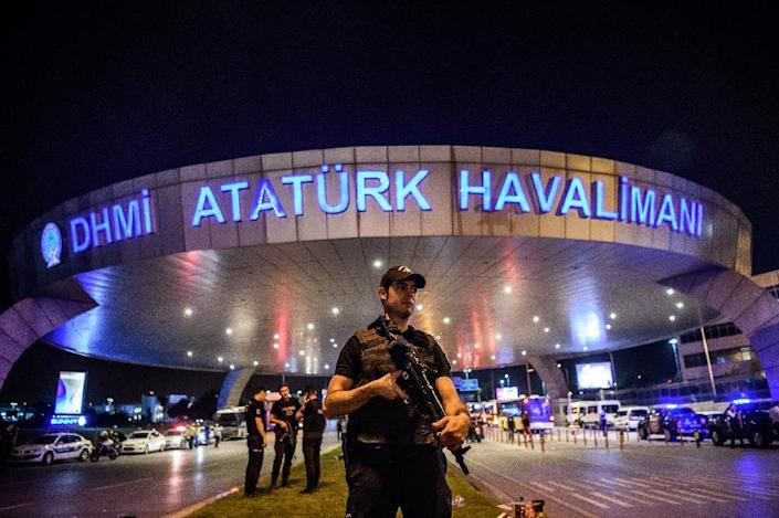 Turkish police on duty at Ataturk airport after a gun and suicide bomb assault that killed 45 people (AFP Photo/Ozan Kose)