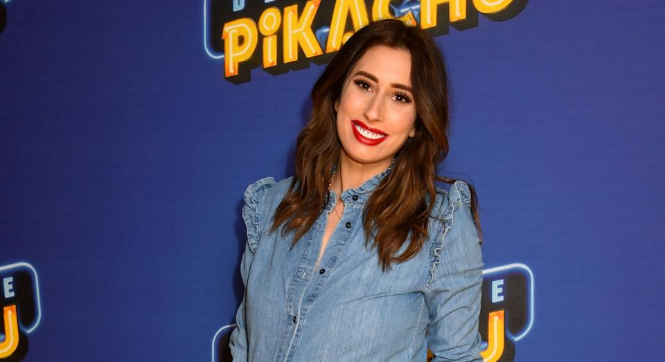 Stacey Solomon has likened her stretch marks to 'guitar strings' for baby Rex [Image: Getty]
