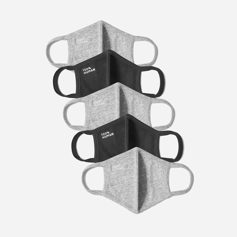 """<h2>The 100% Human Face Mask (5-Pack)<br></h2><br>It's never a bad idea to stock up on face masks — especially when 10% of product sales are donated to the ACLU. Plus, Everlane's double-layer knit cotton are the perfect weight for cooler weather.<br><br><strong>Everlane</strong> The 100% Human Face Mask 5-Pack, $, available at <a href=""""https://go.skimresources.com/?id=30283X879131&url=https%3A%2F%2Fwww.everlane.com%2Fproducts%2Funisex-human-mask-5-black-grey"""" rel=""""nofollow noopener"""" target=""""_blank"""" data-ylk=""""slk:Everlane"""" class=""""link rapid-noclick-resp"""">Everlane</a>"""
