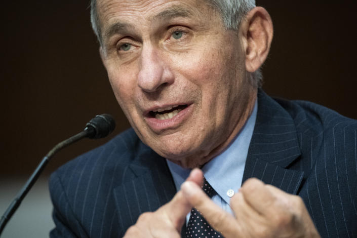 Dr. Anthony Fauci speaks at a Senate hearing on June 30. (Al Drago/Pool via AP)