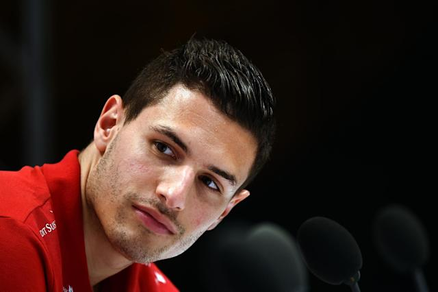 Switzerland's defender Fabian Schaer takes part in a press conference on June 8, 2014 at the Praia Hotel in Porto Seguro, prior to the start of the 2014 FIFA World Cup in Brazil (AFP Photo/Anne-Christine Poujoulat)