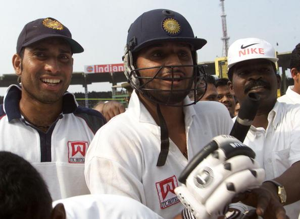 22 Mar 2001:  Harbhajan Singh of India leaves the field after hitting the winning runs with team mate VVS Laxman (left) with him, during day five of the third test between India and Australia at the M.A. Chidambaram Stadium, Chennai, India. India won theTest by two wickets and the series 2 -1  X DIGITAL IMAGE  Mandatory Credit: Hamish Blair/ALLSPORT