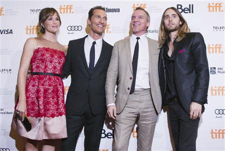 "Director Vallee with cast members Garner, McConaughey and Leto arrive for the ""Dallas Buyers Club"" film screening during the 38th Toronto International Film Festival"