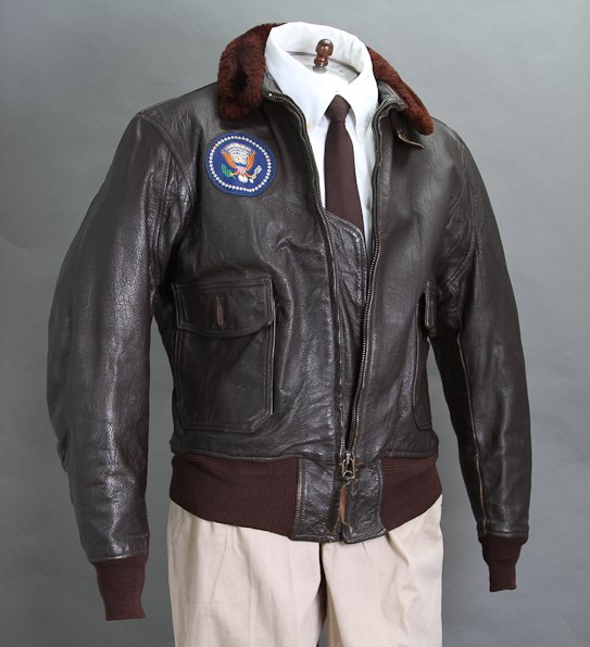"""JFK's Air Force One bomber jacket. Size 44 in case you're wondering. <a href=""""http://www.mcinnisauctions.com/"""" rel=""""nofollow noopener"""" target=""""_blank"""" data-ylk=""""slk:(Photo courtesy of John McInnis Auctioneers)"""" class=""""link rapid-noclick-resp"""">(Photo courtesy of John McInnis Auctioneers)</a>"""