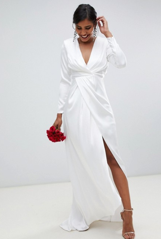 pleated plunge wrap wedding dress in satin by ASOS