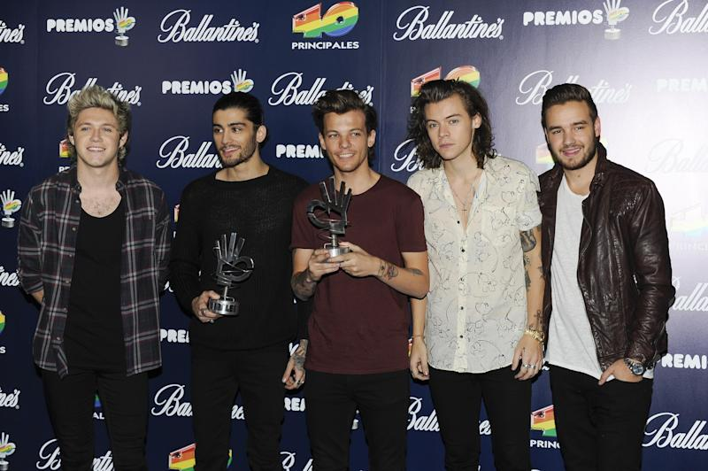 Niall Horan, Zayn Malik, Louis Tomlinson, Harry Styles and Liam Payne of One Direction attend the '40 Principales' awards 2014 ceremony on December 12, 2014 in Madrid, Spain. (Photo by Europa Press/Europa Press via Getty Images)