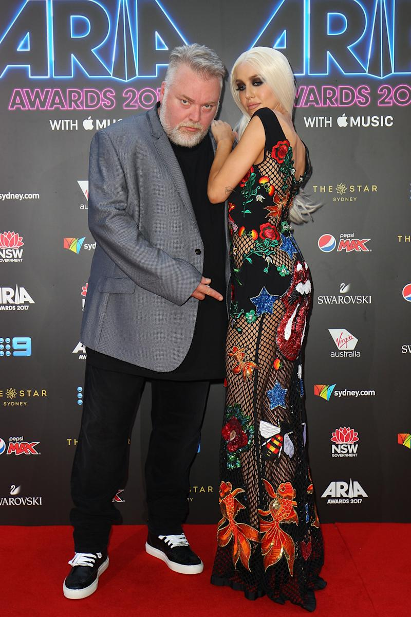 A photo of Kyle Sandilands and Imogen Anthony on the red carpet at the 31st Annual ARIA Awards 2017 at The Star on November 28, 2017 in Sydney, Australia.