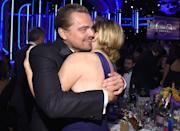 """<p>The two besties embraced in the audience after their individual wins for <i>The Revenant</i> and <i>Steve Jobs </i>on Jan. 10. When asked about why she was so surprised that she won that night, <a href=""""http://www.usmagazine.com/celebrity-news/news/kate-winslet-im-focused-on-leonardo-dicaprio-winning-everything-w163021"""" rel=""""nofollow noopener"""" target=""""_blank"""" data-ylk=""""slk:Winslet replied,"""" class=""""link rapid-noclick-resp"""">Winslet replied, </a>""""To be honest with you, because I've been so focused on Leo, and him winning everything and being so excited for him."""" (Photo: Larry Busacca/NBC/Getty Images) </p>"""