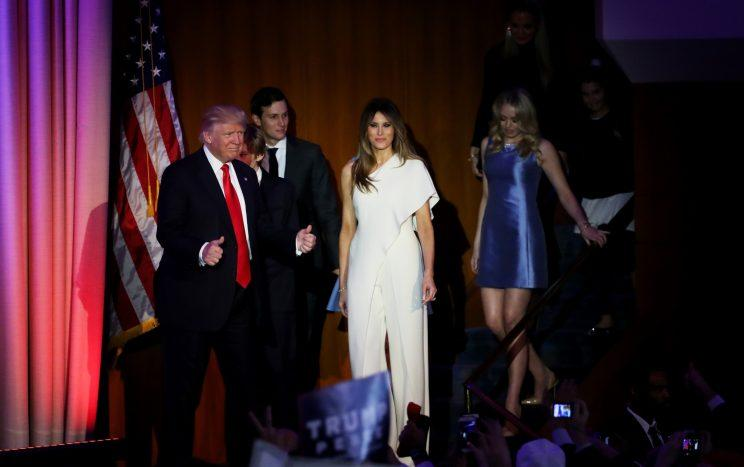 Republican president-elect Donald Trump acknowledges walks on stage with his son Barron Trump, wife Melania Trump, Jared Kushner, and Tiffany Trump during his election night event at the New York Hilton Midtown in the early morning hours of November 9, 2016 in New York City. (Photo: Getty Images)