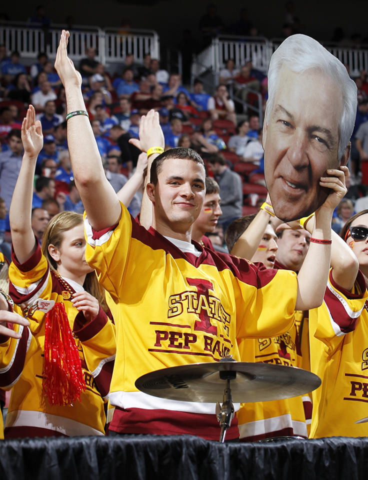 Iowa State Cyclones band member holds up cardboard cutout of CBS analyst Bill Raftery during the game against the Connecticut Huskies during the second round of the 2012 NCAA Men's Basketball Tournament at KFC Yum! Center on March 15, 2012 in Louisville, Kentucky. Iowa State won 77-64. (Photo by Joe Robbins/Getty Images)