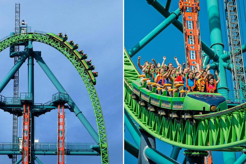 """<p>Get ready to <em>scream</em>! At <a href=""""https://www.sixflags.com/greatadventure"""" rel=""""nofollow noopener"""" target=""""_blank"""" data-ylk=""""slk:Six Flags Great Adventure"""" class=""""link rapid-noclick-resp"""">Six Flags Great Adventure</a> in New Jersey, the ferocious Kingda Ka coaster climbs 45 stories into the air, rockets down a 90-degree spiral drop and hits speeds up to 128 mph—all in a ride that lasts less than one minute. If you visit the park after June 13th, test your courage on the brand-new <a href=""""https://www.sixflags.com/greatadventure/attractions/jersey-devil-coaster"""" rel=""""nofollow noopener"""" target=""""_blank"""" data-ylk=""""slk:Jersey Devil Coaster"""" class=""""link rapid-noclick-resp"""">Jersey Devil Coaster</a>. It's now the world's tallest, fastest <em>and</em> longest single-rail coaster— towering 13 stories, flying at speeds up to 58 miles-per-hour, and propelling riders over 3,000 feet of track. </p>"""