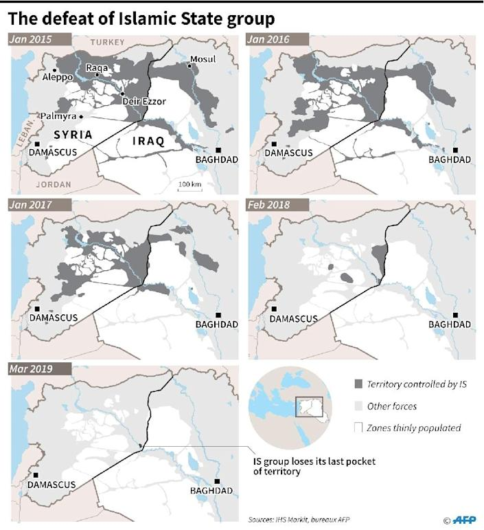The decline of the zones controlled by Islamic State group between January 2015 and March 2019 in Syria and Iraq. (AFP Photo/Simon MALFATTO)