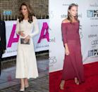 "<p>Kate is a big fan of her white off-the-shoulder dress by Barbara Casasola—she loves it so much that she's wore it <a href=""https://www.harpersbazaar.com/celebrity/red-carpet-dresses/a27959939/kate-middleton-off-the-shoulder-dress-addiction-gala/"" rel=""nofollow noopener"" target=""_blank"" data-ylk=""slk:multiple times"" class=""link rapid-noclick-resp"">multiple times</a>. And the knit maxi dress proved popular with more than just the royal, as numerous celebrities, including Alicia Vikander, have sported it on the red carpet.</p>"
