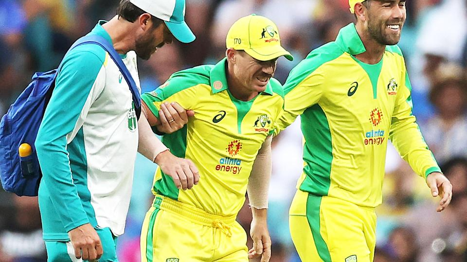 David Warner (pictured middle) hobbling off the field after an injury.
