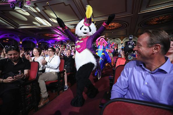 Dancers perform to reveal 'Just Dance 2019' during the Ubisoft E3 conference at the Orpheum Theater on June 11, 2018 in Los Angeles, California. The E3 Game Conference begins on Tuesday June 12. (Photo by Christian Petersen/Getty Images)