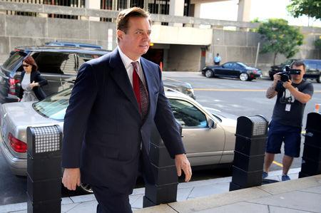 FILE PHOTO: Former Trump campaign chairman Paul Manafort arrives for arraignment on a third superseding indictment against him by Special Counsel Robert Mueller on charges of witness tampering, at U.S. District Court in Washington, U.S., June 15, 2018. REUTERS/Jonathan Ernst/File Photo
