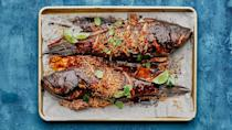 """<a href=""""https://www.bonappetit.com/recipe/black-bass-with-coconut-herb-salad?mbid=synd_yahoo_rss"""" rel=""""nofollow noopener"""" target=""""_blank"""" data-ylk=""""slk:See recipe."""" class=""""link rapid-noclick-resp"""">See recipe.</a>"""