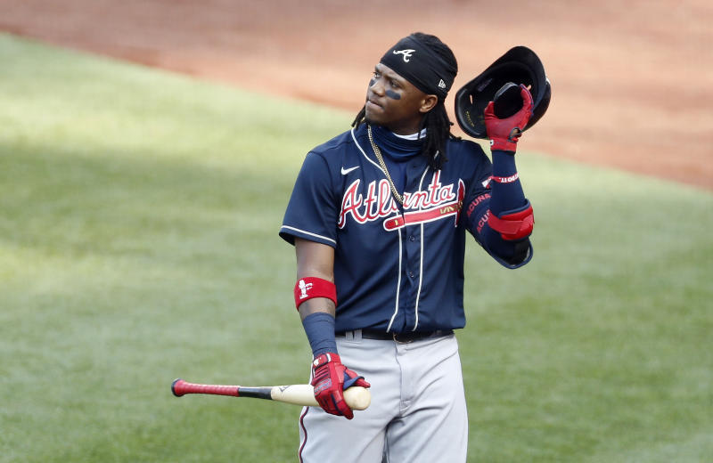 "Ronald Acuna Jr. ""leads"" MLB in strikeouts early in the 2020 season. (Getty Images)"