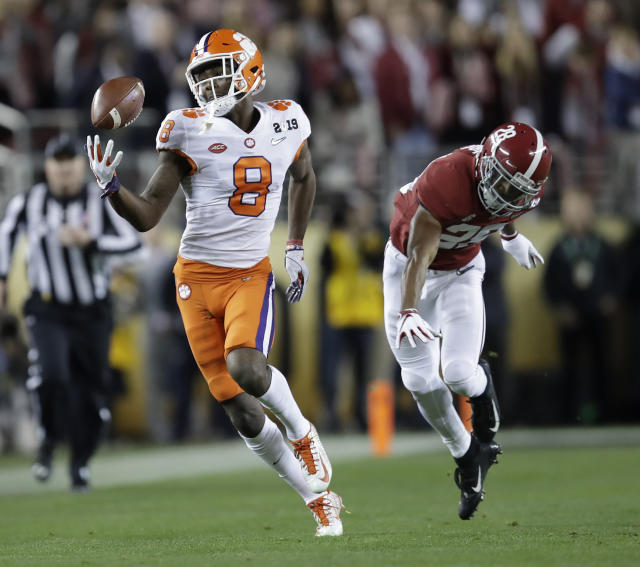 Clemson's Justyn Ross makes a one-handed catch in front of Alabama's Josh Jobe during the second half of the NCAA college football playoff championship game, Monday, Jan. 7, 2019, in Santa Clara, Calif. (AP Photo/Ben Margot)