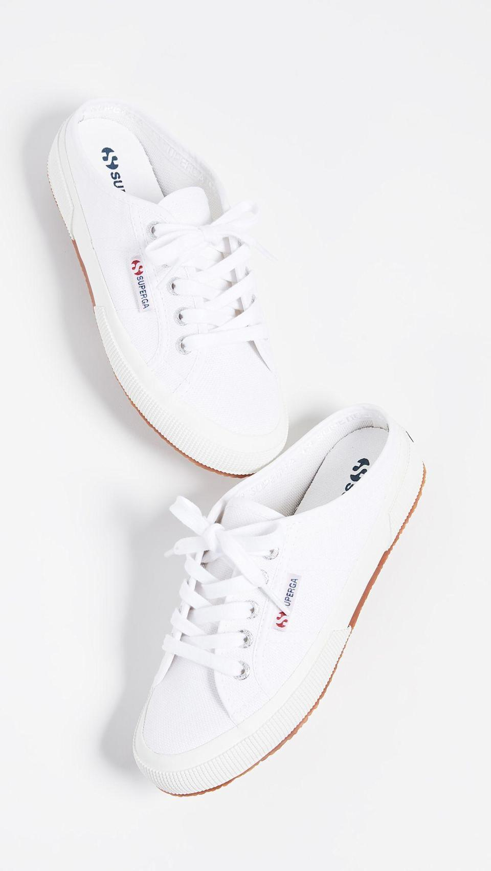 "<p><strong>Superga</strong></p><p>shopbop.com</p><p><strong>$65.00</strong></p><p><a href=""https://go.redirectingat.com?id=74968X1596630&url=https%3A%2F%2Fwww.shopbop.com%2F2402-cotw-mule-sneakers-superga%2Fvp%2Fv%3D1%2F1523413179.htm&sref=https%3A%2F%2Fwww.seventeen.com%2Ffashion%2Ftrends%2Fg32826210%2Fclassic-white-sneakers%2F"" rel=""nofollow noopener"" target=""_blank"" data-ylk=""slk:Shop Now"" class=""link rapid-noclick-resp"">Shop Now</a></p><p>White mule sneakers are so easy to slide on and kick off, making them your new favorite shoe.</p>"