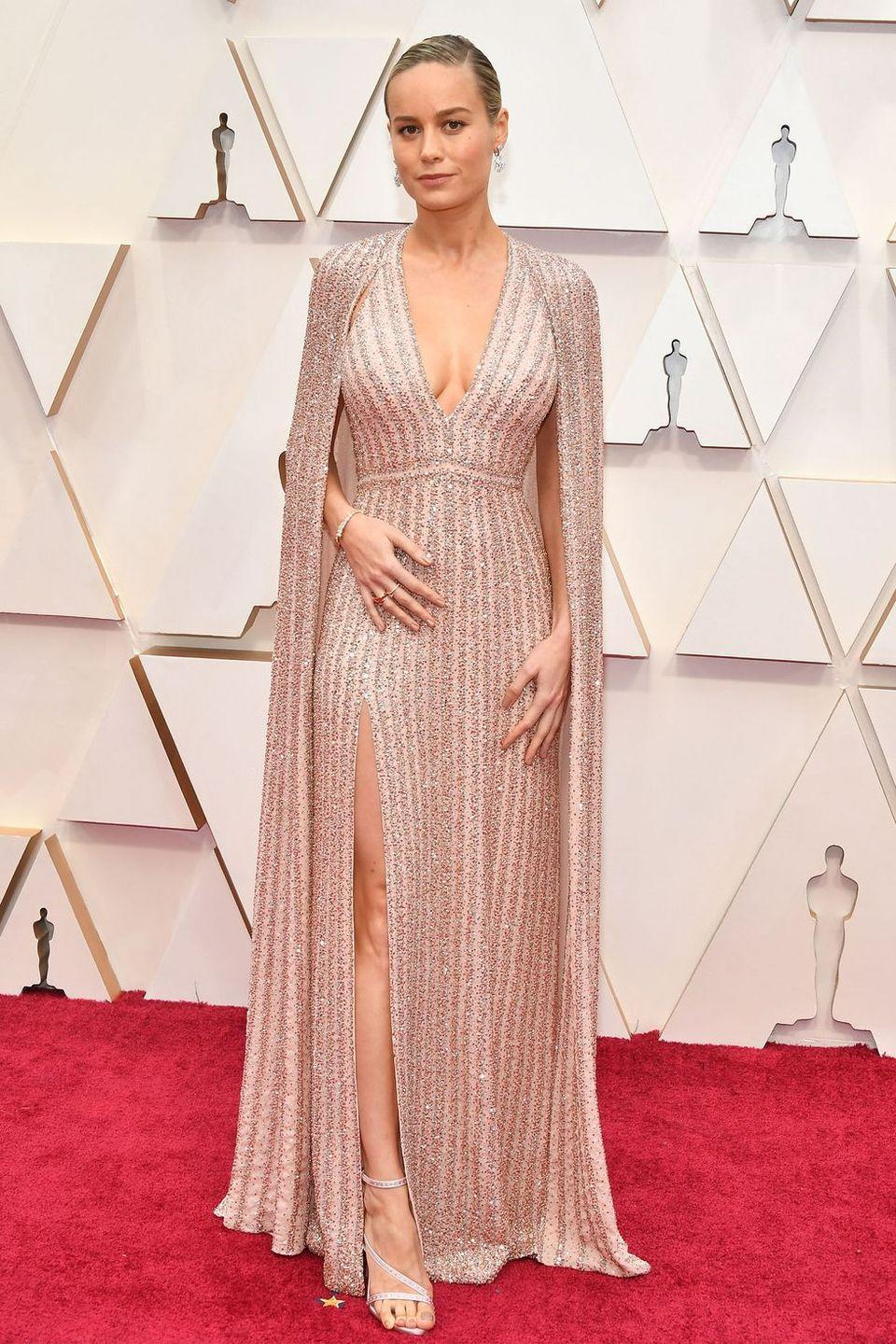 <p>This glam gown and cape moment–courtesy of Celine by Hedi Slimane–has inducted Brie Larson into the hall of Oscars' best dressed stars.</p>