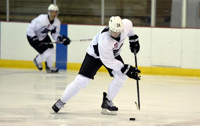 Philadelphia Flyers right wing Matt Read participates in NHL hockey training camp in Lake Placid, N.Y., Thursday, Sept. 19, 2013. (AP Photo/John DiGiacomo)