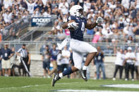 Penn State running back Journey Brown (4) celebrates his first quarter touchdown run against Idaho in their NCAA college football game in State College, Pa., on Saturday, Aug. 31, 2019. (AP Photo/Barry Reeger)