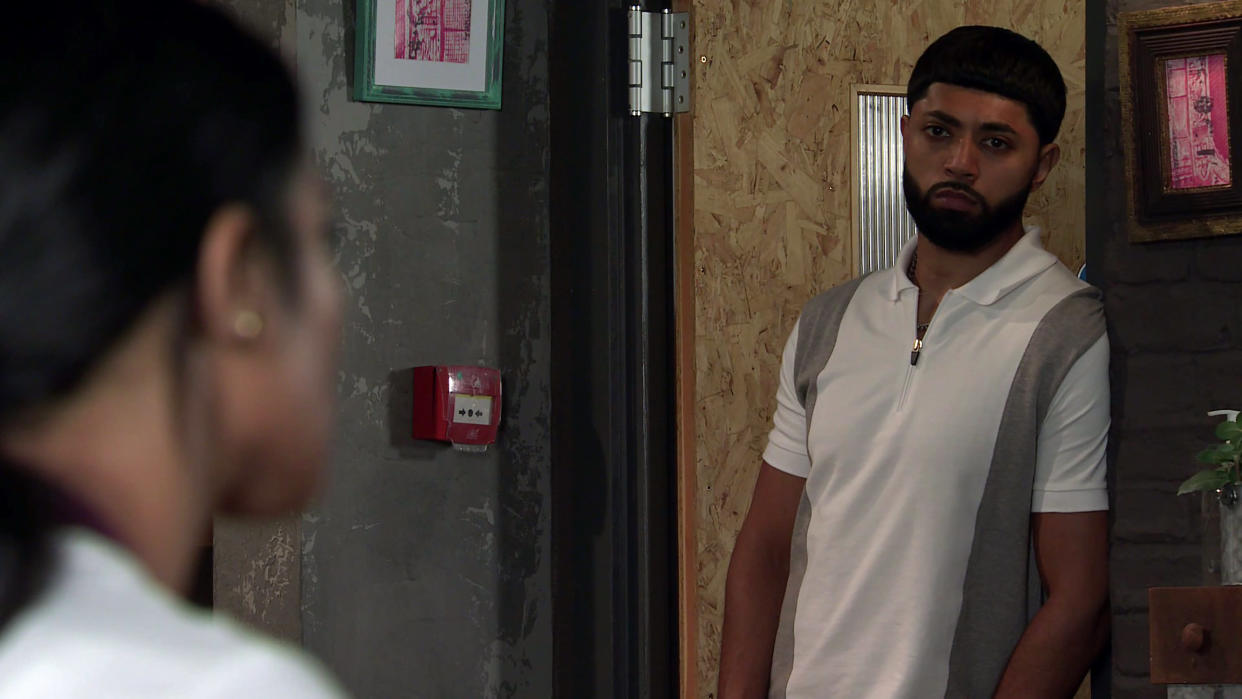 FROM ITV  STRICT EMBARGO - No Use Before Tuesday 7th September  2021  Coronation Street - Ep 10433  Friday 17th September 2021 - 2nd Ep  In desperation, Alya Nazir [SAIR KHAN] leaves a voicemail for Zeedan Nazir [QASIM AHKTAR] telling him how she's been scammed out of thousands and doesn't know what to do. Zeedan arrives at Speed Daal as Alya is forced to explain her mistake to Yasmeen Nazir [SHELLEY KING]. Zeedan offers to transfer £50k to tide her over.  Picture contact David.crook@itv.com   This photograph is (C) ITV Plc and can only be reproduced for editorial purposes directly in connection with the programme or event mentioned above, or ITV plc. Once made available by ITV plc Picture Desk, this photograph can be reproduced once only up until the transmission [TX] date and no reproduction fee will be charged. Any subsequent usage may incur a fee. This photograph must not be manipulated [excluding basic cropping] in a manner which alters the visual appearance of the person photographed deemed detrimental or inappropriate by ITV plc Picture Desk. This photograph must not be syndicated to any other company, publication or website, or permanently archived, without the express written permission of ITV Picture Desk. Full Terms and conditions are available on  www.itv.com/presscentre/itvpictures/terms