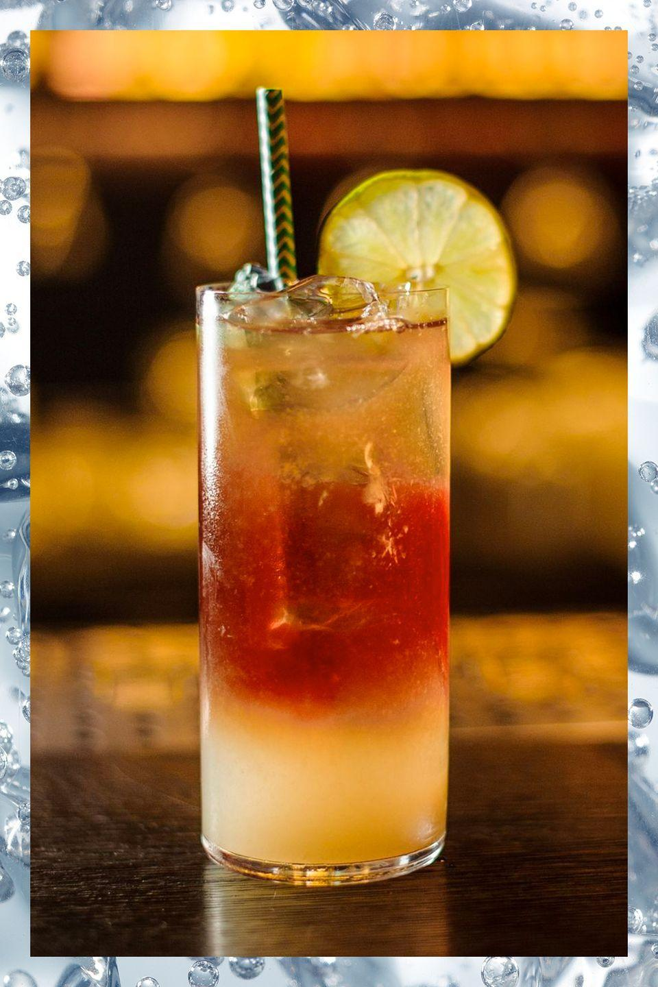 <p>The Dark 'n Stormy was created on Bermuda in the late 1800s when British sailors, already rum fans, took to brewing ginger beer and combined their two favorites into one tasty concoction. Traditionally the cocktail is made exclusively with Bermuda-native Gosling's Black Seal Rum. </p><p>- 1.5 oz Gosling's Black Seal Rum<br>- Ginger beer to top</p><p><em>Fill a highball glass with ice and add rum and ginger beer. Garnish with lime. </em></p>